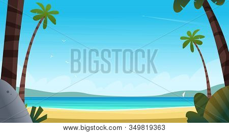 Tropical Beach In The Pacific Ocean Or Calm Blue Sea. View Of The Blue Sea With Palm Trees Of The Sa