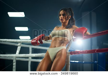 Portrait Of Slim Brunette Woman Wearing Red Boxing Gloves, Beige Underwear And Leaning On Rope. Youn