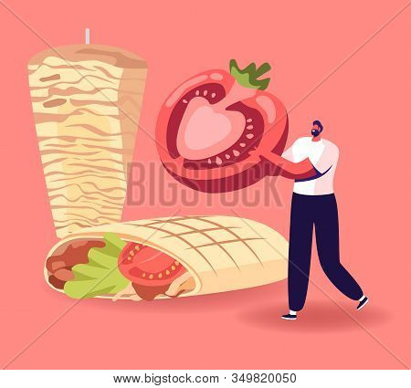 Gourmet Male Character Carry Half Of Ripe Fresh Tomato Near Huge Shawarma With Meat And Vegetables.