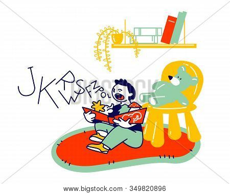 Little Boy Sitting On Floor Trying To Read Book. Logopedy Lesson, Kid Learning To Speak Correctly. T