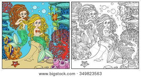 Cute Girl Mermaid Plait Braids Friend Mermaid On Underwater World With Corals Background Color And O