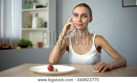 Anorexic Girl Smiling, Conscious Choice Of Severe Diet, Starving Body, Bulimia