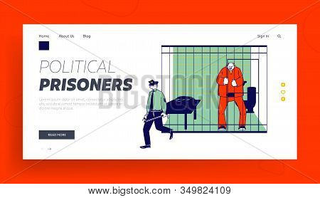 Prisoner In Prison Jail Website Landing Page. Policeman With Stick Passing By Arrested Man In Orange