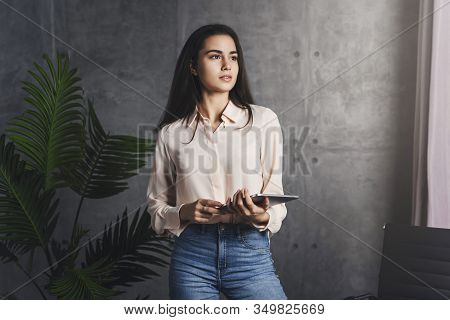 Pretty Young Woman Standing With Tablet In Hands. Career Opportunities For Young Specialists. Girl G
