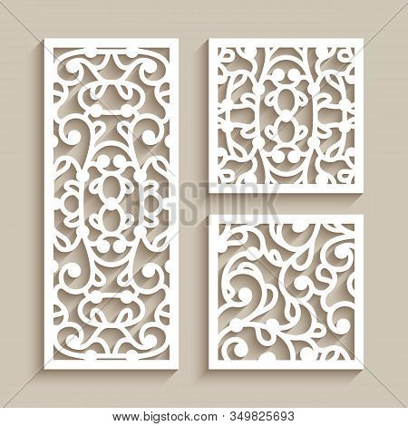 Set Of Square And Rectangle Tiles With Cutout Paper Swirls, Floral Lace Texture, Ornamental Panels W