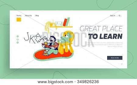 Logopedy Lesson, Kid Learning To Speak Correctly Website Landing Page. Little Boy Sitting On Floor R