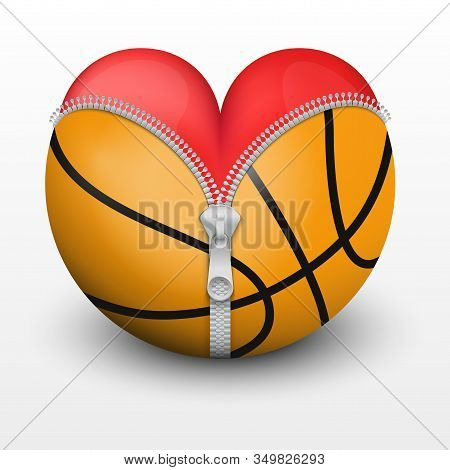 Red Heart Inside Basketball Ball. Symbol Of Love For The Sport. Vector Illustration, Isolated.