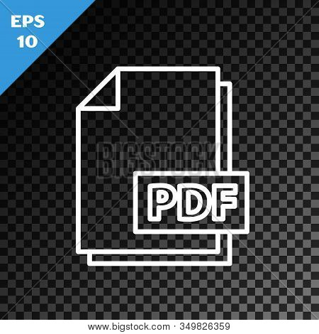 White Line Pdf File Document. Download Pdf Button Icon Isolated On Transparent Dark Background. Pdf