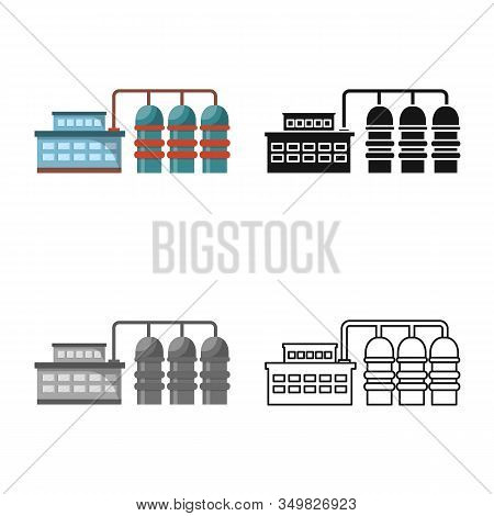 Vector Design Of Manufactory And Powerhouse Sign. Collection Of Manufactory And Urban Stock Vector I