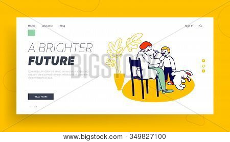 Logopedy Clinic Service, Medical Help To Children Website Landing Page. Doctor Logopedist Working Wi