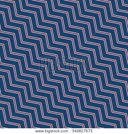Simple Vector Seamless Pattern With Diagonal Stripes, Lines, Chevron, Zigzag. Navy Blue And Coral Co