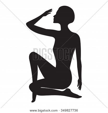 Silhouette Woman Sitting, Graceful Elegant Pose - Isolated On White Background - Vector. Lifestyle.