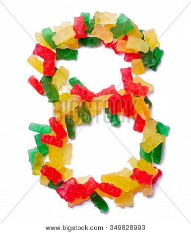 Arabic Numeral  From Multi-colored Chewing Marmalade