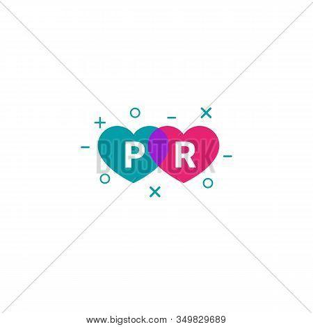 Pr Agency Logo With Hearts, Public Relations Color Vector Icon