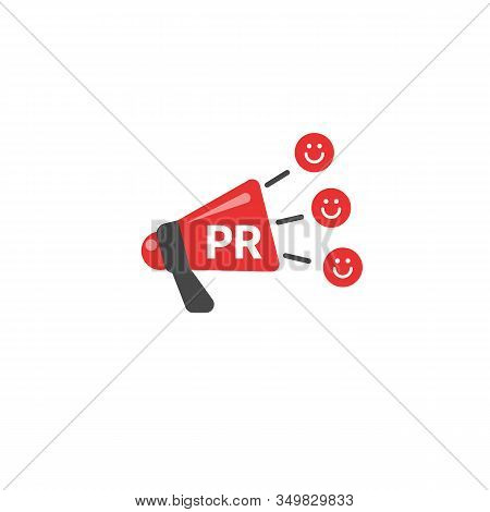 Pr Illustration With Megaphone, Public Relations Vector Icon