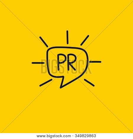 Pr Logo In Comment Bubble With Rays, Hand Drawn Public Relation Vector Icon