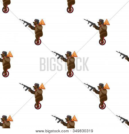 Seamless Pattern Bear Rides A Unicycle With A Balalaika And A Machine Gun In His Hands On A White Ba