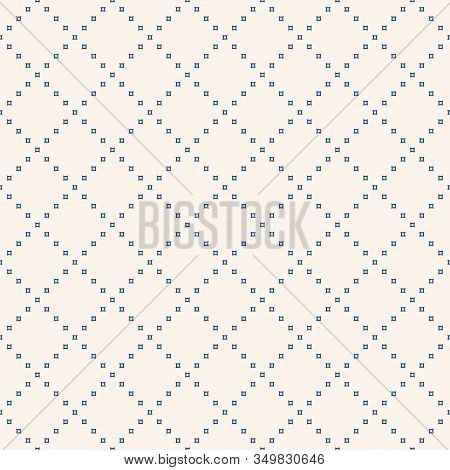 Subtle Minimalist Geometric Seamless Pattern With Tiny Squares In Grid. Abstract Minimal Background