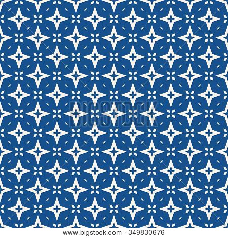 Vector Abstract Geometric Floral Seamless Pattern. Indigo Blue And White Background With Diamonds, S