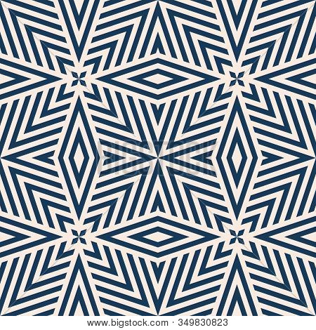 Geometric Lines Seamless Pattern. Vector Abstract Background In Dark Blue And Beige Color. Simple Gr
