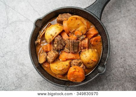 French Cuisine Beef Bourguignon. Beef Stew With Red Wine, Carrots And Potatoes.