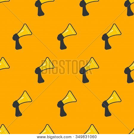 Pr Seamless Pattern, News, Public Relations Vector Background With Megaphones