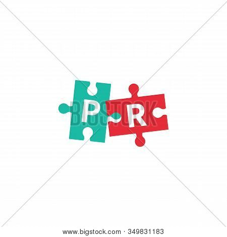 Pr Logo, Public Relations Vector Icon, Letters P And R On Puzzle