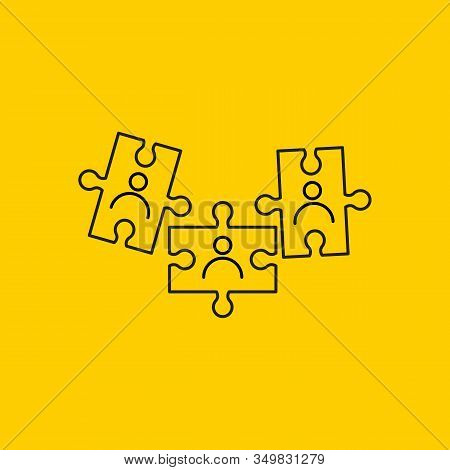 Selection Of Candidates For Work, Puzzle Piece With Staff, Line Vector Icon