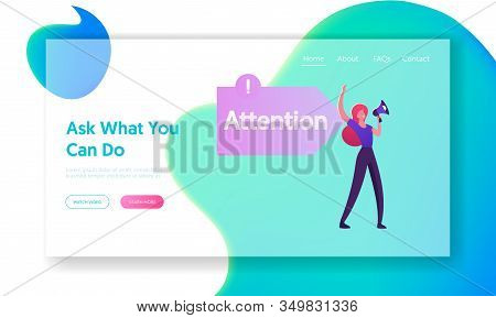 Aida Business Marketing Model Website Landing Page. Promoter Yelling To Megaphone At Arrow Sign With