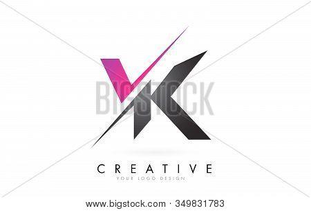 Vk V K Letter Logo With Colorblock Design And Creative Cut. Creative Logo Design.