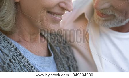 Happy Old Couple On Date, Female Smiling Close Up, Dental Care, Prosthetics