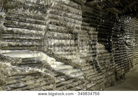 Salt Wall Mine Detail Underground In Wieliczka Poland