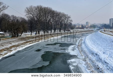 Wislok River In The Center Of Rzeszow City Poland