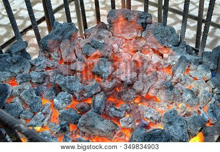 Black Coal Warm On The Street Bin Cold Winter