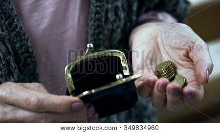 Poor Old Woman Counting Last Money From Wallet, Lack Of Budget, Small Pension