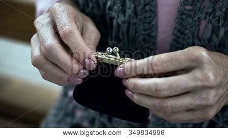 Old Woman Holding Purse, Social Insecurity, Lack Of Money, Poverty, Close-up
