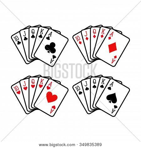 Royal Flush Hand Of Clubs, Diamonds, Hearts And Spades Playing Cards Deck Colorful Illustration. Pok