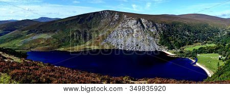 Lough Tay Dark Lake Top View At Wicklow Ireland