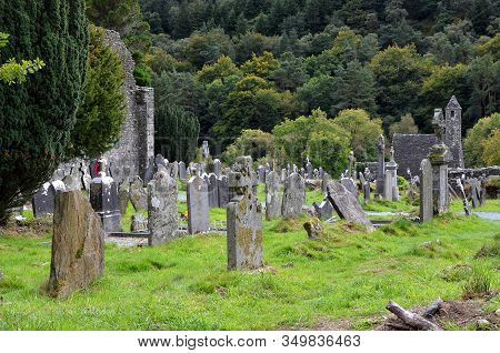 Old Ireland Cemetery And Graves In Glendalough