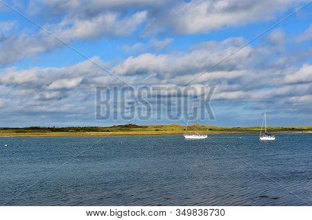 Small Boats On The Sea Near Malahide City View Dublin Ireland