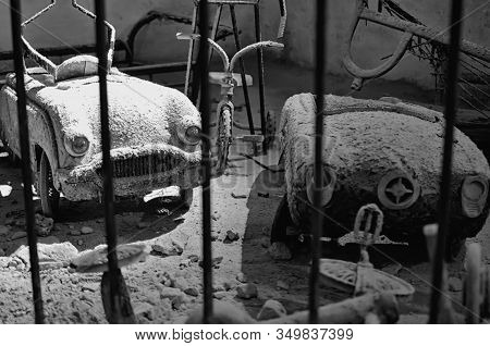 Old Toy Cars Covered With Dust And Ash Underground Of Naples