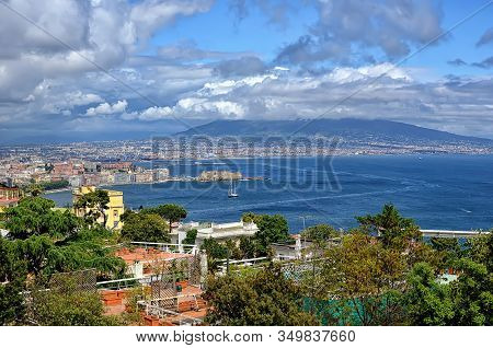 Naples Bay With Vesuv In Clouds Summer Landscape Photography