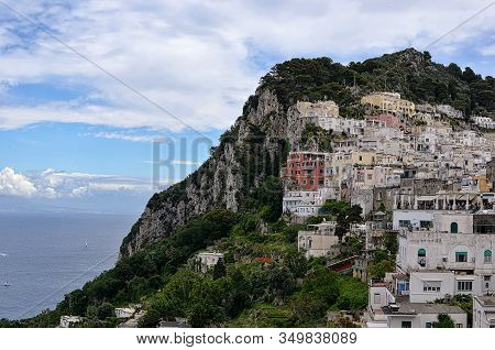 Mountain And Buildings And Nature Capri Island In Italy Photography