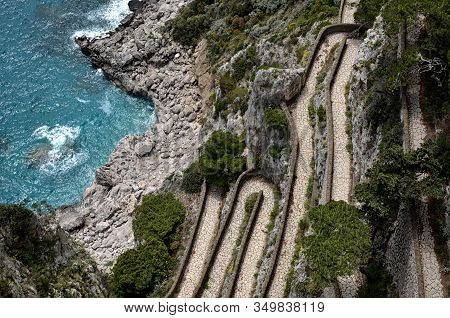 Meandring Path From Sea Nature Capri Island In Italy Photography