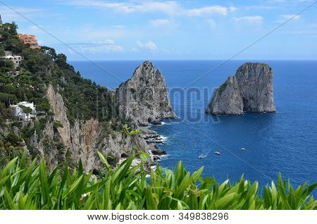 Rocks In The Water And Nature Capri Island In Italy Photography