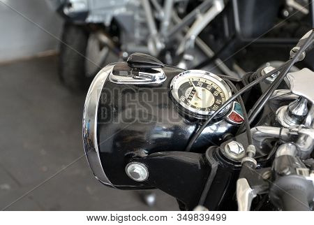 Detail Of Front Light And Speedometer Of Old Motorbike