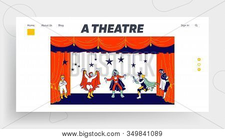 Kids Theatre Performance Website Landing Page. Children Actors In Super Hero Costumes Perform Fairy-