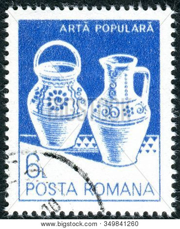 Romania - Circa 1982: A Stamp Printed In Romania, Depicted Household Utensils, Ceramic Pot And Jug,