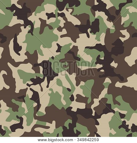 Green Camouflage Pattern Background. Seamless Green Camouflage. Classic Green Army Clothing Style. F