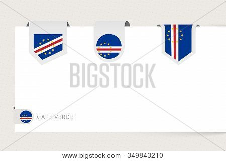 Label Flag Collection Of Cape Verde In Different Shape. Ribbon Flag Template Of Cape Verde Hanging F